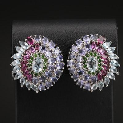 Sterling Topaz, Diopside and Gemstone Cluster Earrings