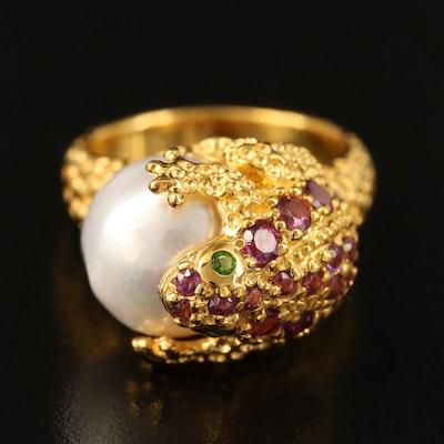 Sterling Pearl, Rhodolite Garnet and Diopside Toad Ring