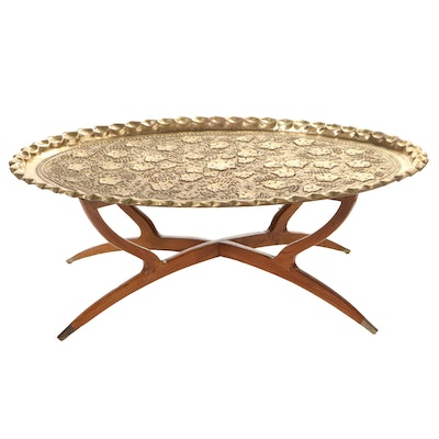 Moroccan Brass and Hardwood Folding Tray Table, Mid-20th Century