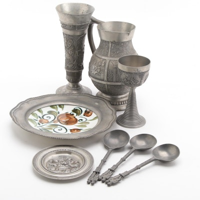 German Pewter Pitcher, Chalices, Spoons, and Decorative Plates