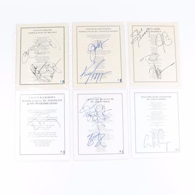Journey, Loggins & Messina, Bon Jovi, Tom Petty, Other Signed Lyric Sheets, COAs