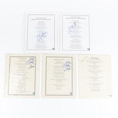 The Beach Boys, The Monkees, and Jimmy Buffett Signed Lyric Sheets, COAs