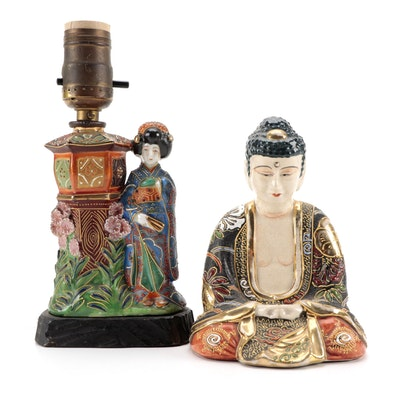 Ceramic Satsuma Buddha Figurine and Accent Lamp