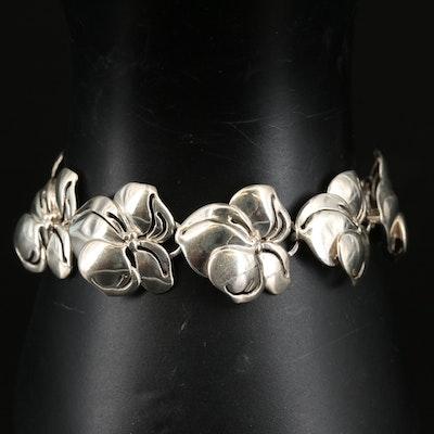 Vintage Sterling Dogwood Flower Link Bracelet