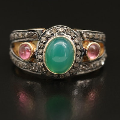 Sterling Chalcedony and Tourmaline Split Shank Ring