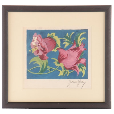 Floral Gouache Painting, Mid-20th Century