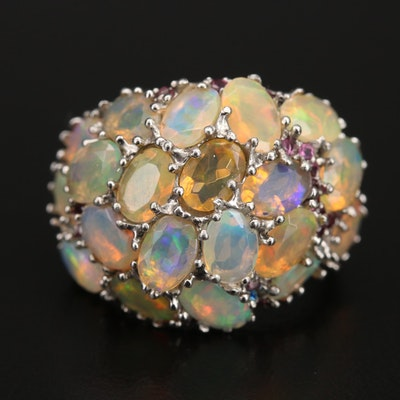 Sterling Opal and Garnet Dome Ring