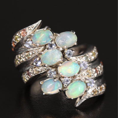 Sterling Opal, Tanzanite and Sapphire Ring