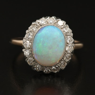 10K Opal and Diamond Halo Ring