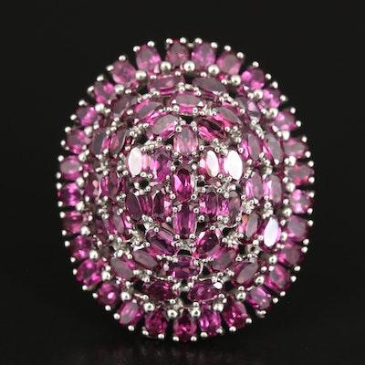 Sterling Rhodolite Garnet Cluster Dome Ring