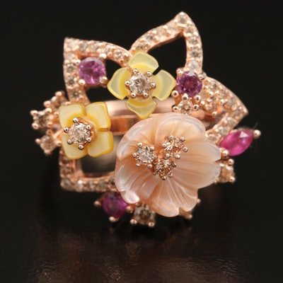 Sterling Mother of Pearl, Cubic Zirconia and Ruby Floral Ring