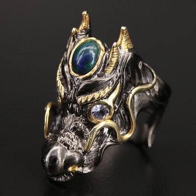 Sterling Opal and Tanzanite Dragon Ring