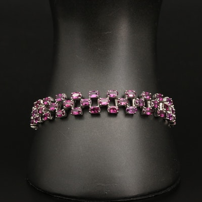 Sterling Silver Triple Row Garnet Line Bracelet