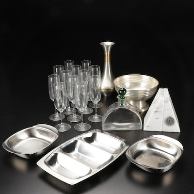 Pewter Decanter, Nut Bowls and Other Table Accessories
