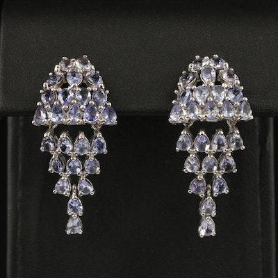 Sterling Silver Tanzanite Chandelier Earrings