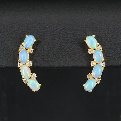 Sterling Opal and Cubic Zirconia Ear Climbers