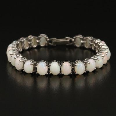 Sterling Silver Opal Line Bracelet