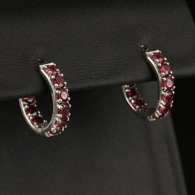 Sterling Silver Inside-Out Rhodolite Garnet Hoop Earrings