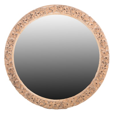 Rococo Style Carved Wooden Round Wall Mirror, Antique