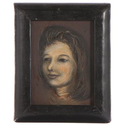Portrait Oil Painting of a Woman, Mid-20th Century
