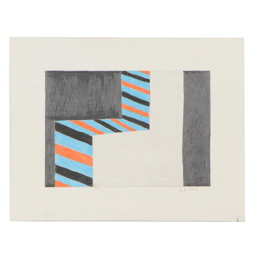 Lawton Orchard Abstract Color Pencil Drawing, 2013