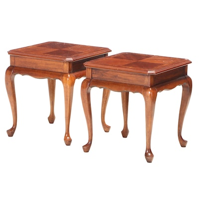 Pair of Queen Anne Style Mahogany-Stained and Burlwood-Crossbanded Side Tables