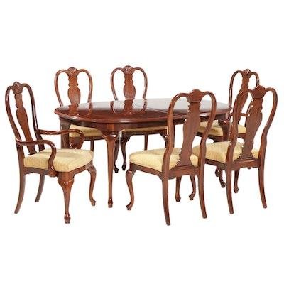 Bernhardt Queen Anne Style Cherry Seven-Piece Dining Set, Late 20th Century