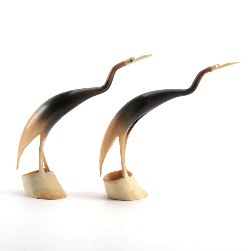 Pair of Carved Horn and Bone Figures of Cranes