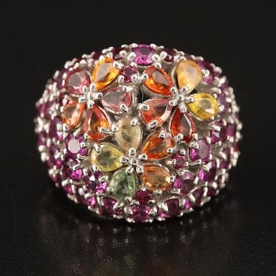 Sterling Sapphire and Rhodolite Garnet Domed Ring