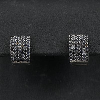 Sterling Pavé Sapphire Huggie Hoop Earrings