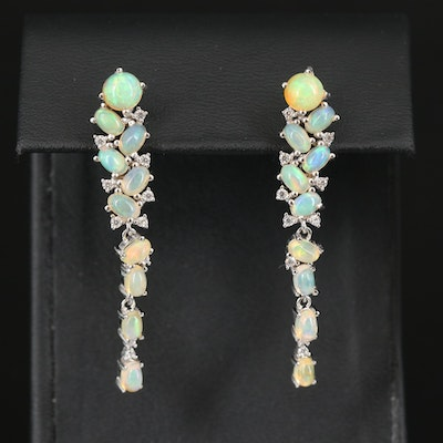 Sterling Opal Drop Earrings with Cubic Zirconia Accents