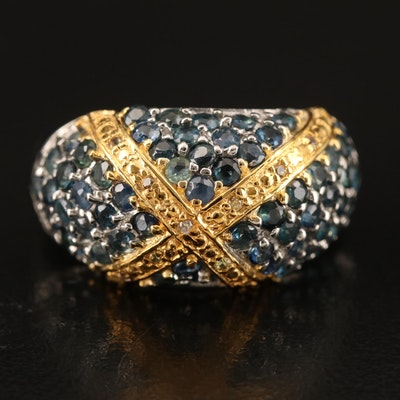 """Sterling Sapphire """"X"""" Domed Ring"""