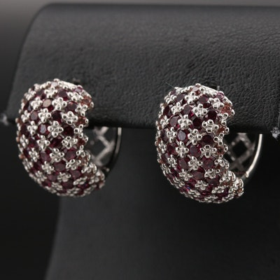 Sterling Garnet and Sapphire Huggie Hoop Earrings