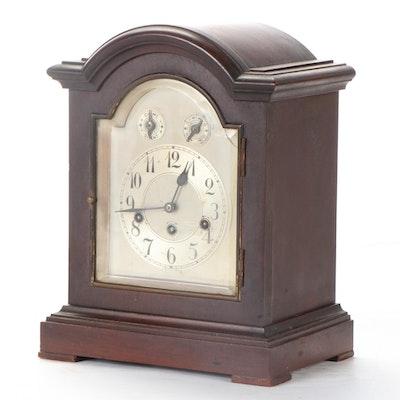 Junghans German Mahogany Wood Mantel Clock, Early to Mid 20th Century