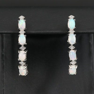 Sterling Opal Linear Drop Earrings with Cubic Zirconia Accents