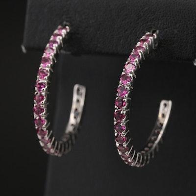 Sterling Garnet Half Hoop Earrings