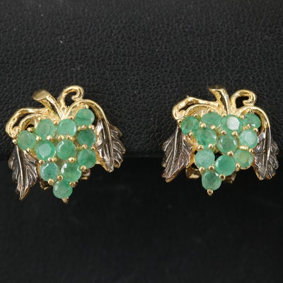 Sterling Emerald Grape Earrings