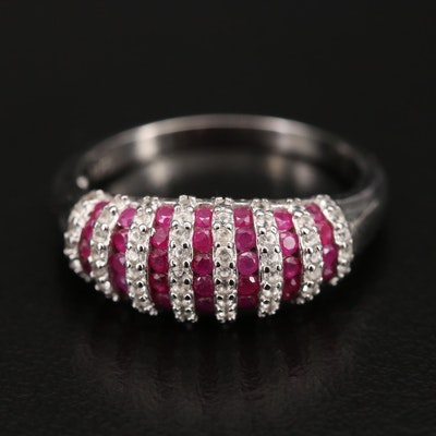Sterling Ruby and Topaz Fluted Ring