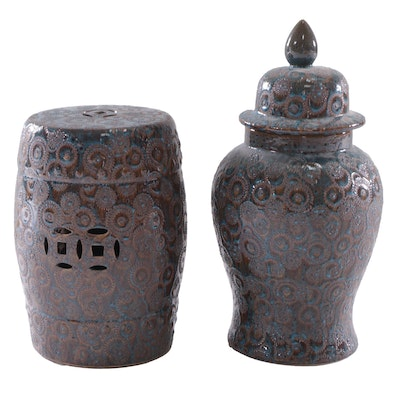 Contemporary Chinese Glazed Ceramic Garden Seat and Covered Urn