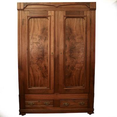 Late Victorian Walnut and Figured Walnut Converted Knockdown Wardrobe