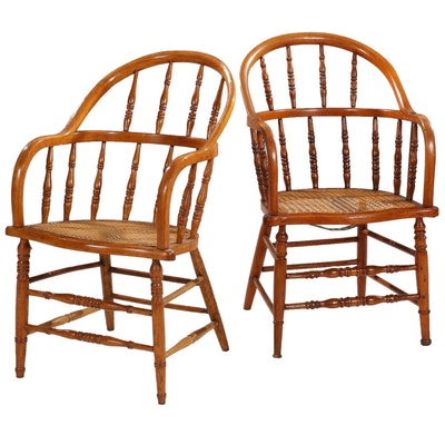Pair of Spindle-Back Wooden Arm Chairs, Early to Mid 20th Century