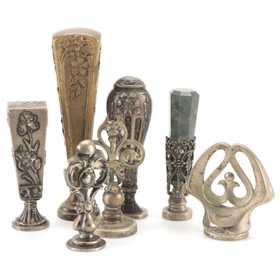 Art Nouveau Style Brass and Silver Tone Wax Stamps