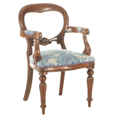 Carved Mahogany Side Chair with Chinoiserie Blue and White Upholstery