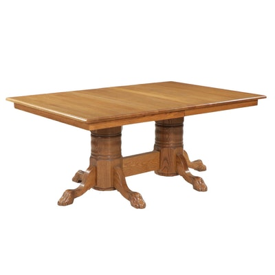 Oak Two Pedestal Dining Table, Mid to Late 20th Century