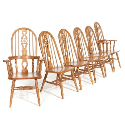 Six Oak Bow-Back Windsor Style Dining Chairs