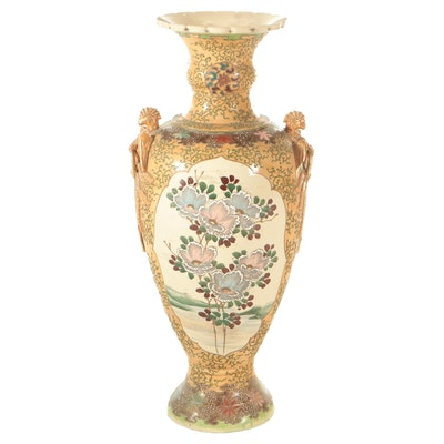 Japanese Satsuma Porcelain Moriage-Decorated Floor Urn, Early 20th C.