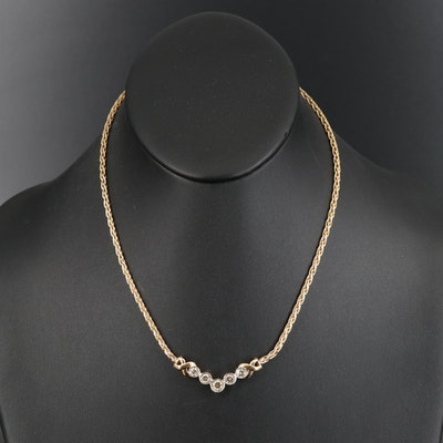 14K Diamond Cheron Necklace