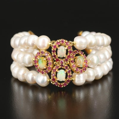 Sterling Opal, Ruby and Pearl Bracelet