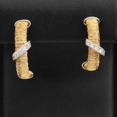 Italian Sterling Silver Wire Wrapped Half Hoop Earrings with Cubic Zirconia