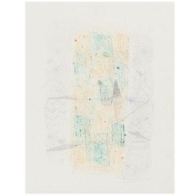 "Mark Gualtieri Mixed Media Watercolor Painting ""Artifact,"" 2015"